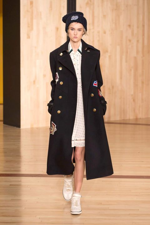 coach runway 2016 navy coat